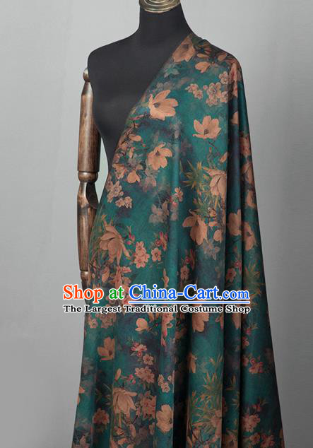 Asian Chinese Classical Yulan Magnolia Pattern Green Brocade Satin Drapery Traditional Cheongsam Brocade Silk Fabric