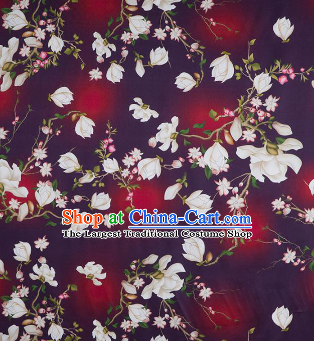 Asian Chinese Classical Yulan Magnolia Pattern Purple Brocade Satin Drapery Traditional Cheongsam Brocade Silk Fabric