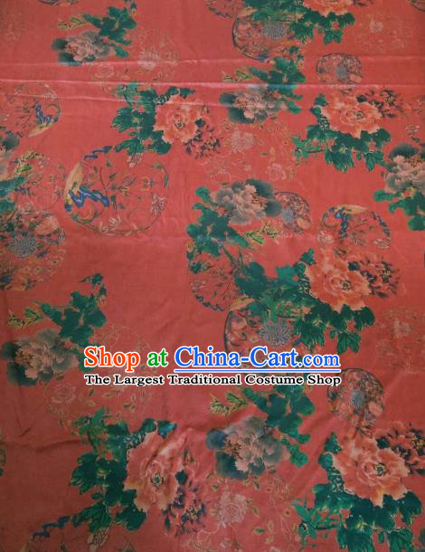 Asian Chinese Classical Peony Flowers Pattern Red Satin Drapery Gambiered Guangdong Gauze Brocade Traditional Cheongsam Brocade Silk Fabric