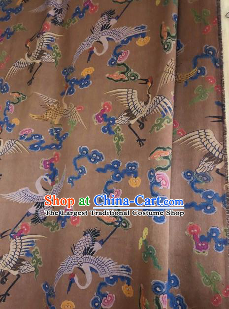 Asian Chinese Classical Cloud Cranes Pattern Brown Satin Drapery Gambiered Guangdong Gauze Brocade Traditional Cheongsam Brocade Silk Fabric