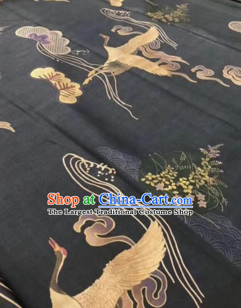Asian Chinese Classical Cranes Pattern Black Satin Drapery Gambiered Guangdong Gauze Brocade Traditional Cheongsam Brocade Silk Fabric