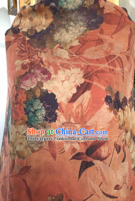 Asian Chinese Classical Flowers Pattern Orange Satin Drapery Gambiered Guangdong Gauze Brocade Traditional Cheongsam Brocade Silk Fabric