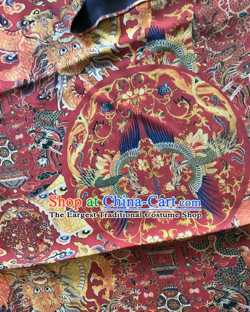 Asian Chinese Classical Dragon Phoenix Pattern Wine Red Satin Drapery Gambiered Guangdong Gauze Brocade Traditional Cheongsam Brocade Silk Fabric