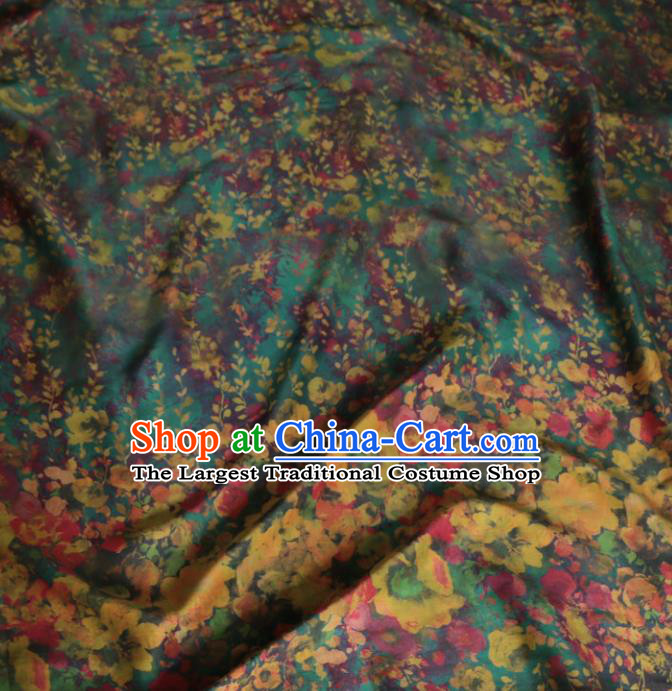 Asian Chinese Classical Flowers Pattern Green Gambiered Guangdong Gauze Satin Drapery Brocade Traditional Cheongsam Brocade Silk Fabric