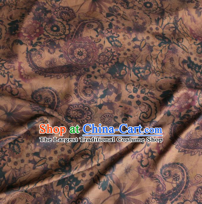 Asian Chinese Classical Flowers Pattern Khaki Gambiered Guangdong Gauze Satin Drapery Brocade Traditional Cheongsam Brocade Silk Fabric