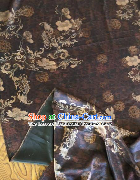 Asian Chinese Classical Flowers Pattern Brown Satin Drapery Gambiered Guangdong Gauze Brocade Traditional Cheongsam Brocade Silk Fabric