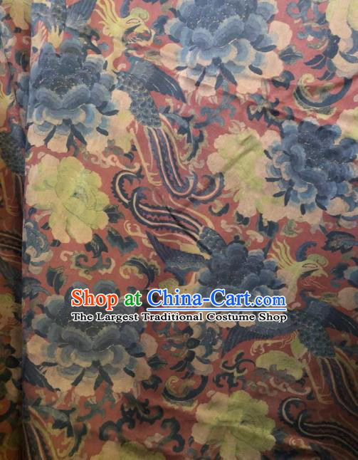 Asian Chinese Classical Phoenix Peony Pattern Satin Drapery Gambiered Guangdong Gauze Brocade Traditional Cheongsam Brocade Silk Fabric