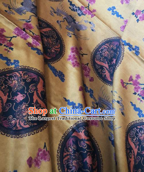 Asian Chinese Classical Plum Cranes Pattern Yellow Satin Drapery Gambiered Guangdong Gauze Brocade Traditional Cheongsam Brocade Silk Fabric