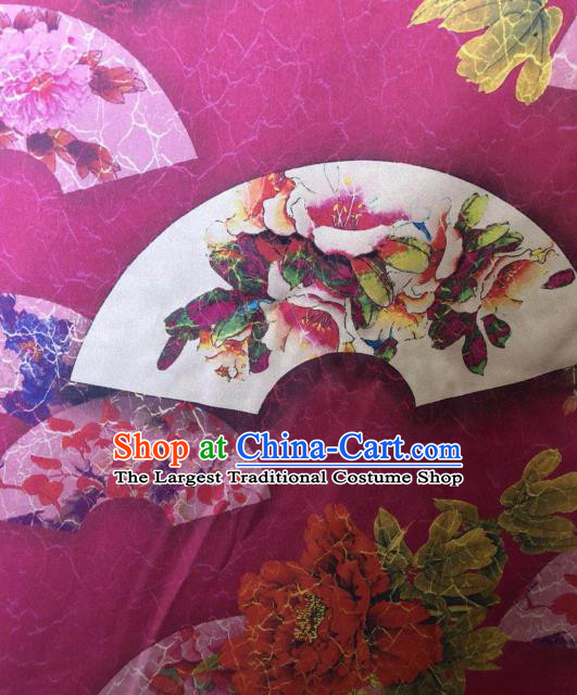 Asian Chinese Classical Peony Fan Pattern Rosy Satin Drapery Gambiered Guangdong Gauze Brocade Traditional Cheongsam Brocade Silk Fabric