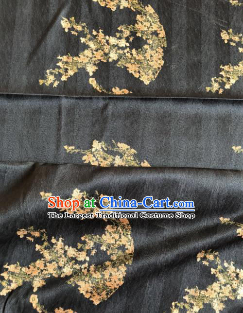 Asian Chinese Classical Plum Pattern Black Satin Drapery Gambiered Guangdong Gauze Brocade Traditional Cheongsam Brocade Silk Fabric