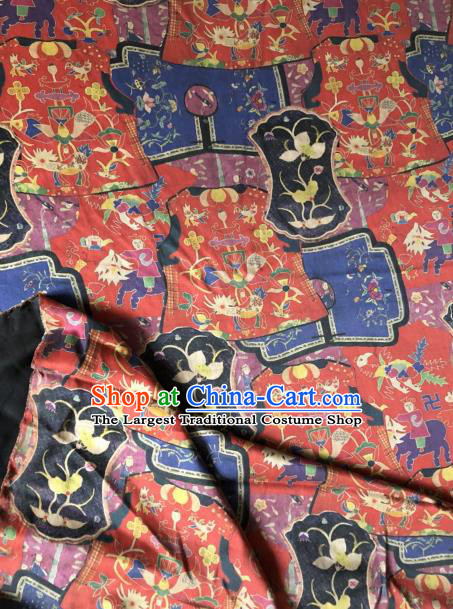 Asian Chinese Classical Flowers Pattern Red Satin Drapery Gambiered Guangdong Gauze Brocade Traditional Cheongsam Brocade Silk Fabric