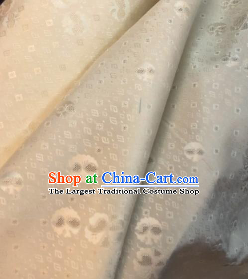 Asian Chinese Classical Auspicious Pattern White Drapery Gambiered Guangdong Gauze Brocade Traditional Cheongsam Brocade Silk Fabric