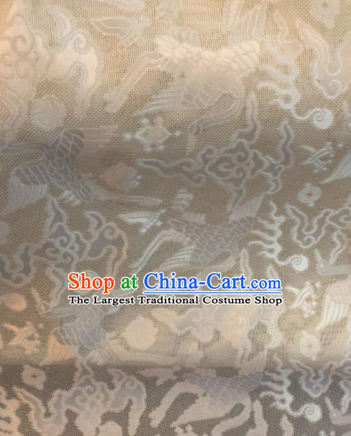 Asian Chinese Classical Cloud Cranes Pattern White Satin Drapery Gambiered Guangdong Gauze Brocade Traditional Cheongsam Brocade Silk Fabric