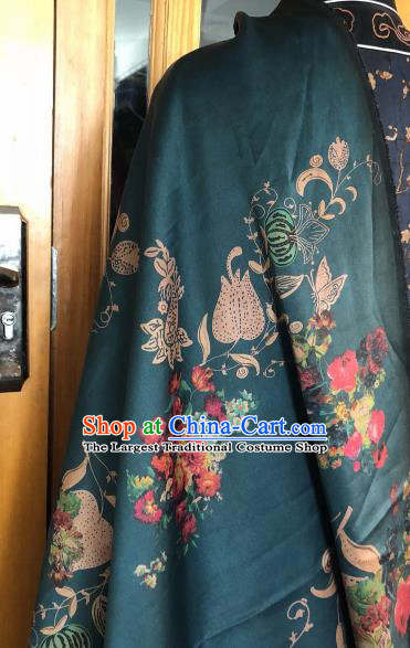 Asian Chinese Classical Tulip Pattern Atrovirens Satin Drapery Gambiered Guangdong Gauze Brocade Traditional Cheongsam Brocade Silk Fabric