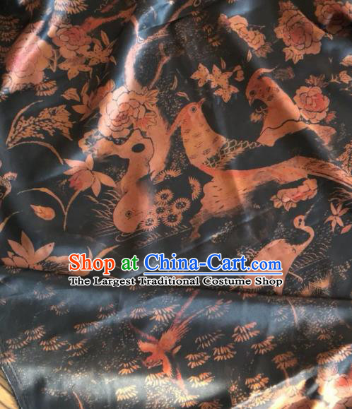 Asian Chinese Classical Birds Pattern Black Satin Drapery Gambiered Guangdong Gauze Brocade Traditional Cheongsam Brocade Silk Fabric