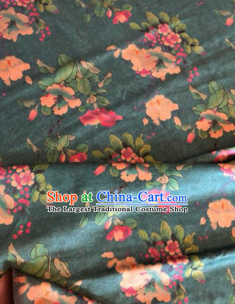 Asian Chinese Classical Pear Flowers Pattern Deep Green Satin Drapery Gambiered Guangdong Gauze Brocade Traditional Cheongsam Brocade Silk Fabric