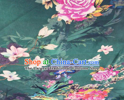 Asian Chinese Classical Peony Pattern Atrovirens Satin Drapery Gambiered Guangdong Gauze Brocade Traditional Cheongsam Brocade Silk Fabric