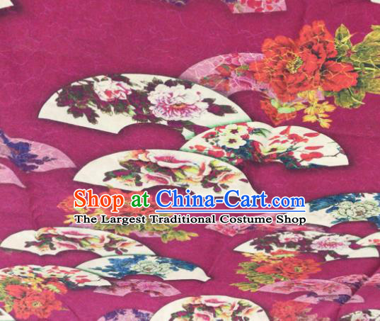 Asian Chinese Classical Peony Pattern Rosy Satin Drapery Gambiered Guangdong Gauze Brocade Traditional Cheongsam Brocade Silk Fabric