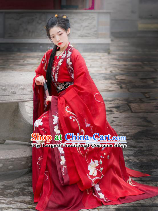 Chinese Ancient Tang Dynasty Wedding Red Hanfu Dress Antique Traditional Court Princess Historical Costume for Women