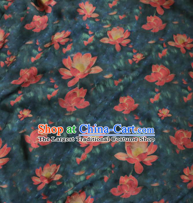 Asian Chinese Classical Lotus Pattern Atrovirens Gambiered Guangdong Gauze Satin Drapery Brocade Traditional Cheongsam Brocade Silk Fabric