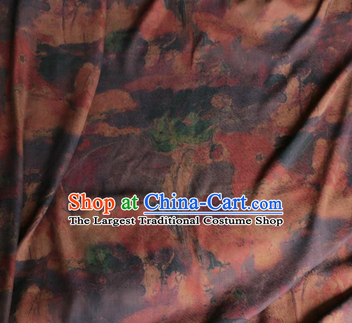 Asian Chinese Classical Pattern Purple Gambiered Guangdong Gauze Satin Drapery Brocade Traditional Cheongsam Brocade Silk Fabric
