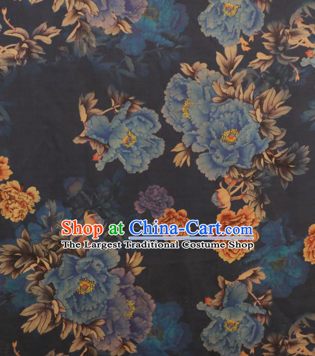 Asian Chinese Classical Blue Peony Pattern Gambiered Guangdong Gauze Satin Drapery Brocade Traditional Cheongsam Brocade Silk Fabric
