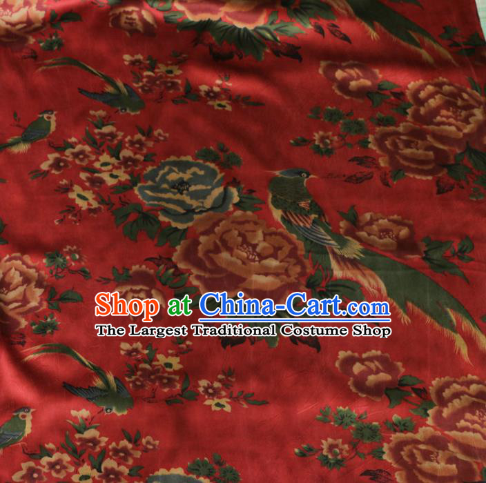 Asian Chinese Classical Peony Birds Pattern Red Gambiered Guangdong Gauze Satin Drapery Brocade Traditional Cheongsam Brocade Silk Fabric