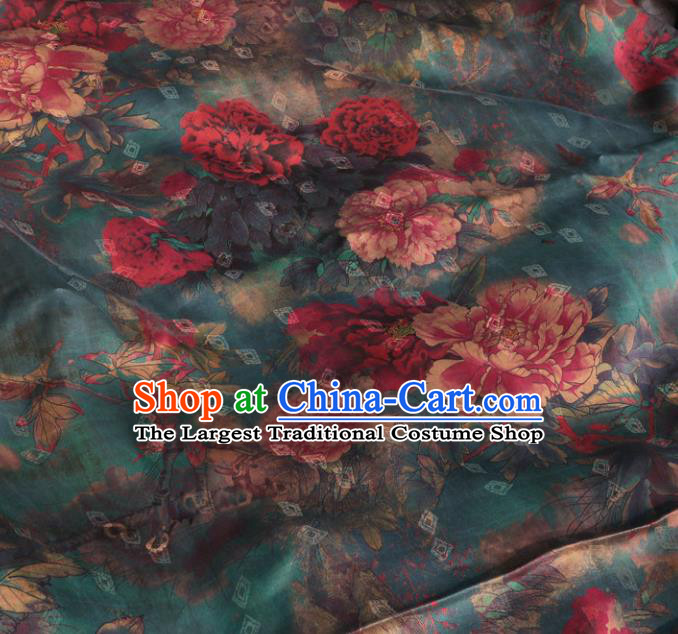 Asian Chinese Classical Peony Pattern Blue Gambiered Guangdong Gauze Satin Drapery Brocade Traditional Cheongsam Brocade Silk Fabric
