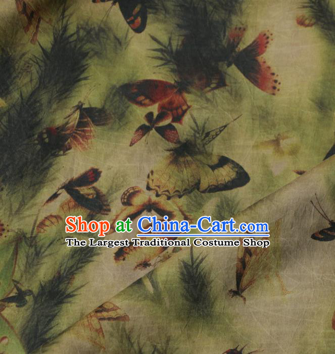 Asian Chinese Classical Butterfly Pattern Green Gambiered Guangdong Gauze Satin Drapery Brocade Traditional Cheongsam Brocade Silk Fabric