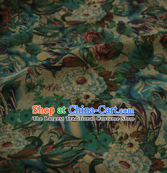 Asian Chinese Classical Pattern Green Gambiered Guangdong Gauze Satin Drapery Brocade Traditional Cheongsam Brocade Silk Fabric
