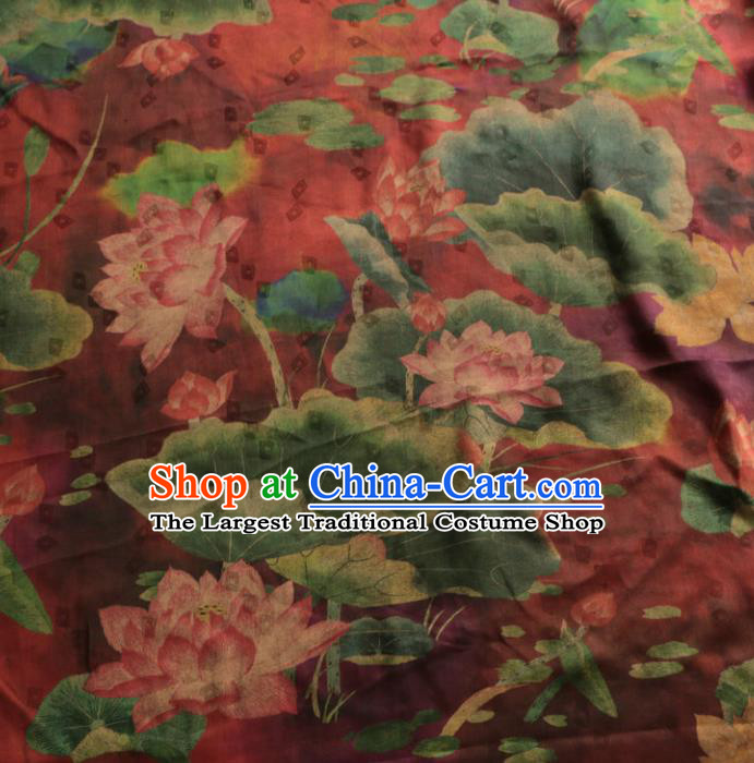 Asian Chinese Classical Lotus Pattern Wine Red Gambiered Guangdong Gauze Satin Drapery Brocade Traditional Cheongsam Brocade Silk Fabric