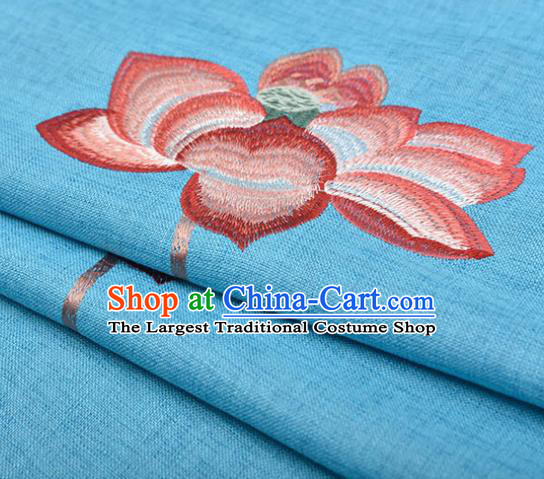 Asian Chinese Cheongsam Classical Embroidered Lotus Pattern Blue Satin Drapery Brocade Traditional Brocade Silk Fabric