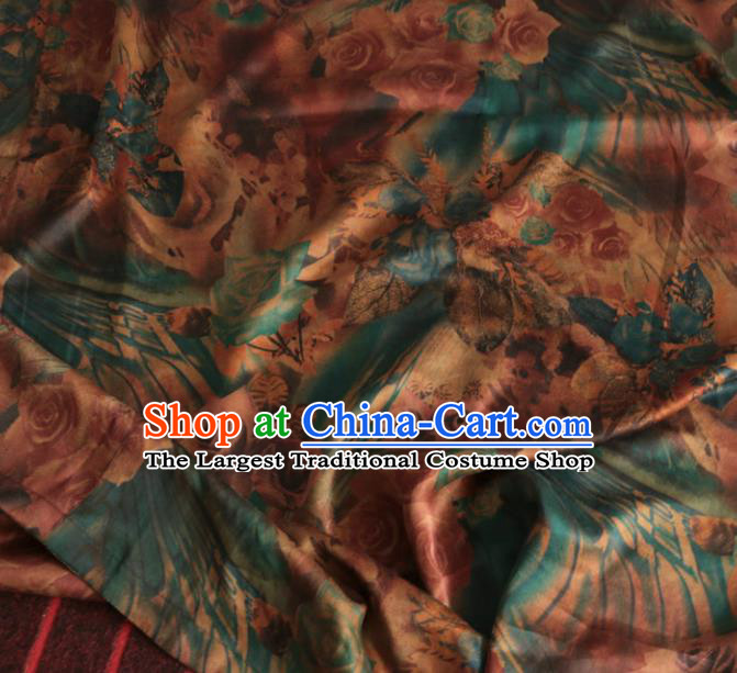 Asian Chinese Classical Roses Pattern Blue Gambiered Guangdong Gauze Satin Drapery Brocade Traditional Cheongsam Brocade Silk Fabric