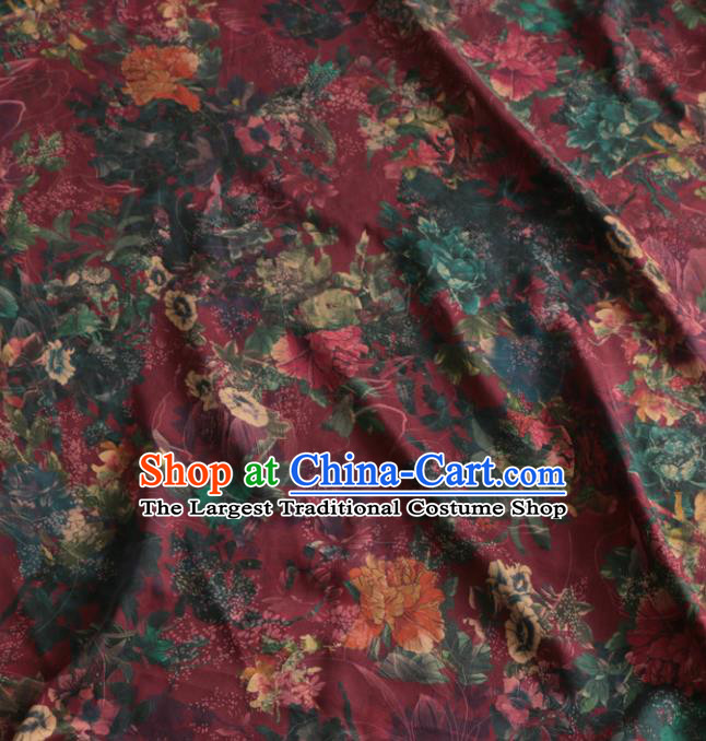 Asian Chinese Classical Pattern Wine Red Gambiered Guangdong Gauze Satin Drapery Brocade Traditional Cheongsam Brocade Silk Fabric