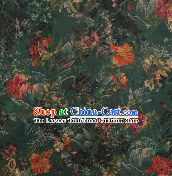 Asian Chinese Classical Peony Pattern Deep Green Gambiered Guangdong Gauze Satin Drapery Brocade Traditional Cheongsam Brocade Silk Fabric