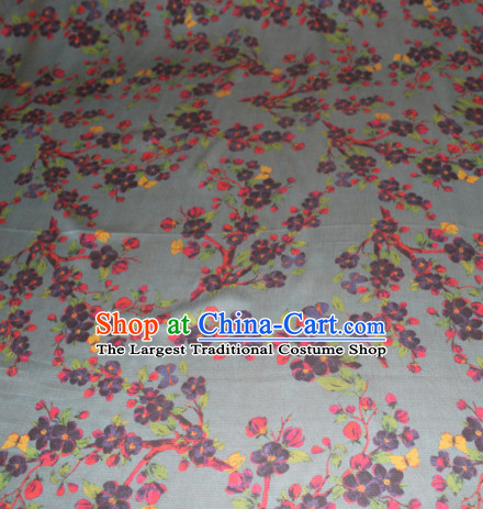 Asian Chinese Cheongsam Classical Plum Pattern Grey Gambiered Guangdong Gauze Satin Drapery Brocade Traditional Brocade Silk Fabric