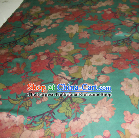 Asian Chinese Cheongsam Classical Peach Blossom Pattern Green Gambiered Guangdong Gauze Satin Drapery Brocade Traditional Brocade Silk Fabric