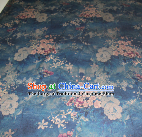 Asian Chinese Cheongsam Classical Plum Pattern Blue Gambiered Guangdong Gauze Satin Drapery Brocade Traditional Brocade Silk Fabric