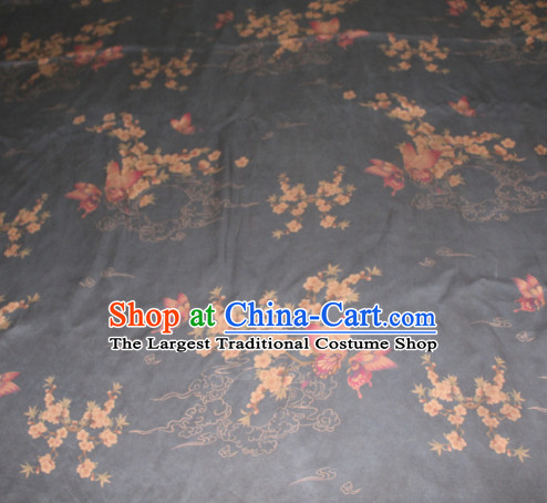 Chinese Traditional Cheongsam Classical Plum Butterfly Pattern Black Gambiered Guangdong Gauze Asian Satin Drapery Brocade Silk Fabric