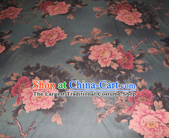 Chinese Traditional Cheongsam Classical Peony Pattern Olive Green Gambiered Guangdong Gauze Asian Satin Drapery Brocade Silk Fabric