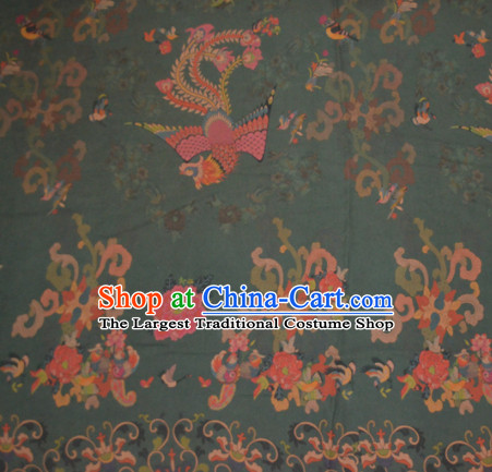 Chinese Traditional Cheongsam Classical Phoenix Peony Pattern Olive Green Gambiered Guangdong Gauze Asian Satin Drapery Brocade Silk Fabric