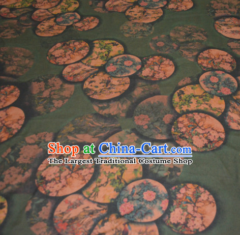 Chinese Traditional Cheongsam Classical Magnolia Peony Pattern Olive Green Gambiered Guangdong Gauze Asian Satin Drapery Brocade Silk Fabric