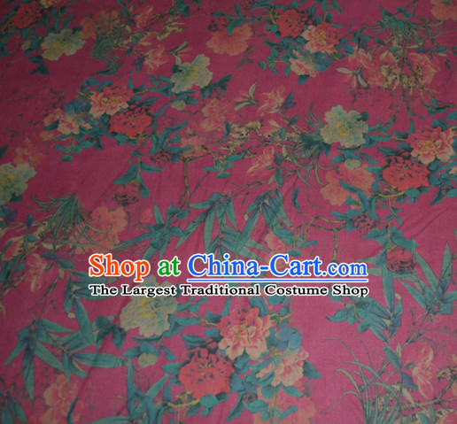 Chinese Traditional Cheongsam Classical Orchid Peony Pattern Rosy Gambiered Guangdong Gauze Asian Satin Drapery Brocade Silk Fabric