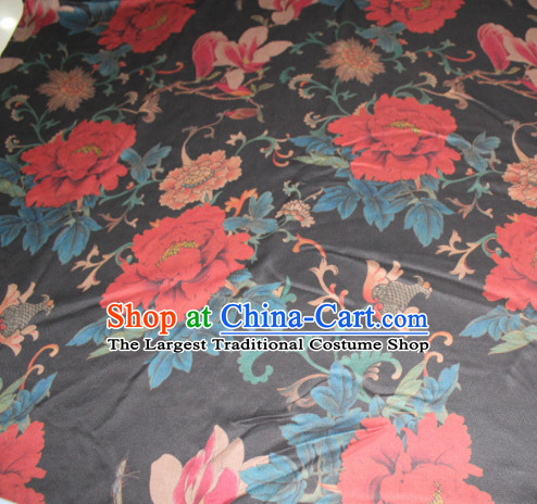 Chinese Traditional Cheongsam Classical Red Peony Pattern Black Gambiered Guangdong Gauze Asian Satin Drapery Brocade Silk Fabric