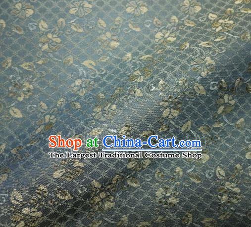 Japanese Traditional Kimono Classical Pattern Blue Brocade Asian Japan Satin Drapery Silk Fabric