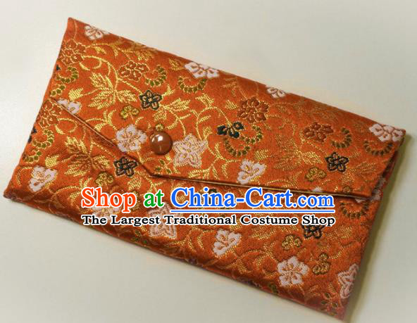 Japanese Traditional Classical Scroll Pattern Orange Brocade Handbag Asian Japan Nishijin Satin Bags Wallet