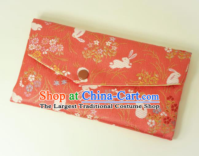 Japanese Traditional Classical Orchid Rabbits Pattern Watermelon Red Brocade Handbag Asian Japan Nishijin Satin Bags Wallet