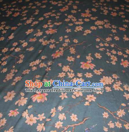 Chinese Traditional Cheongsam Classical Magnolia Pattern Navy Gambiered Guangdong Gauze Asian Satin Drapery Brocade Silk Fabric