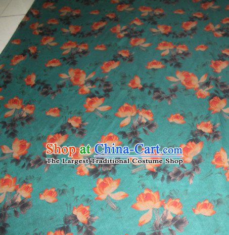 Chinese Traditional Cheongsam Classical Lotus Pattern Deep Green Gambiered Guangdong Gauze Asian Satin Drapery Brocade Silk Fabric