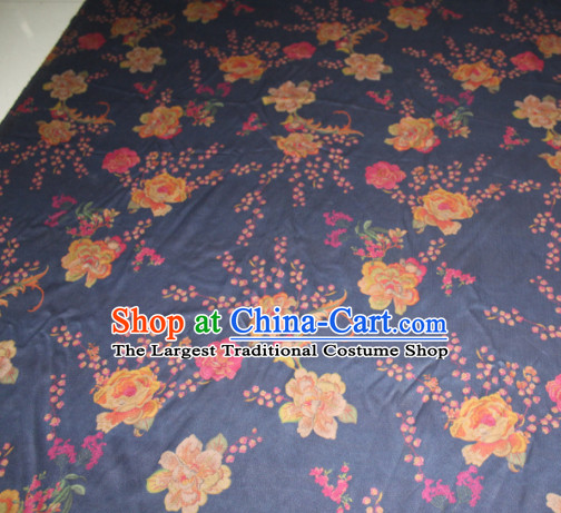 Chinese Traditional Cheongsam Classical Peony Plum Pattern Navy Gambiered Guangdong Gauze Asian Satin Drapery Brocade Silk Fabric